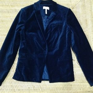 LAUNDRY by SHELLI SEGAL blue velvet blazer size 6